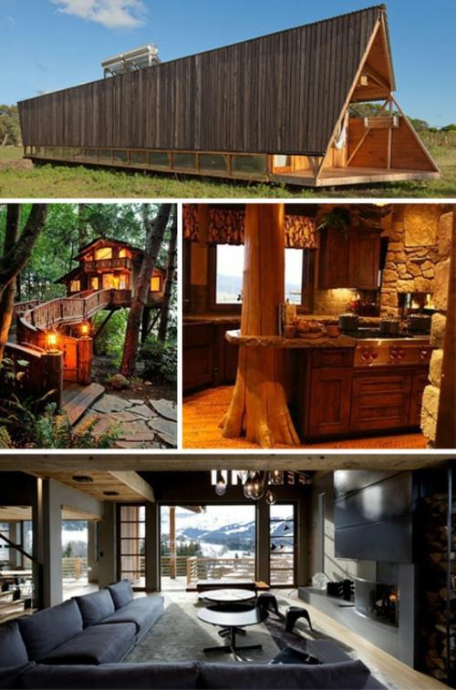 attraktive blockhaus designs fertighaus holz steinwand küche
