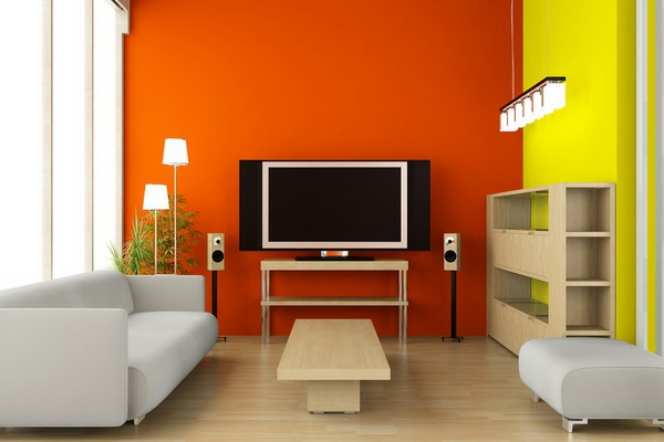 wohnzimmer in orange awesome orange wand wohnzimmer contemporary, Modernes haus