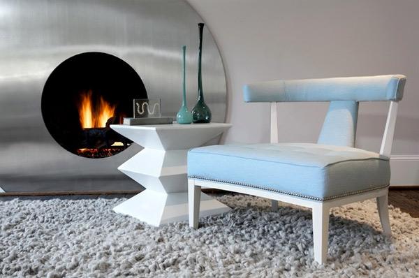 ausgefallenes Interior Design - Akzent bank blau teppich grau