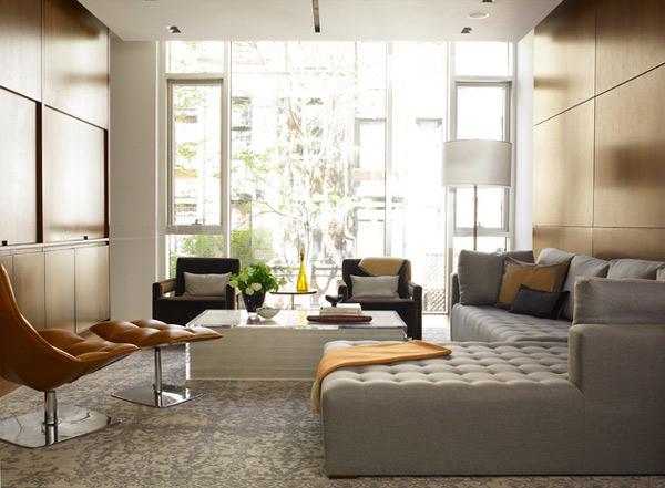 ausgefallenes Interior Design - Akzent grau ecksofa