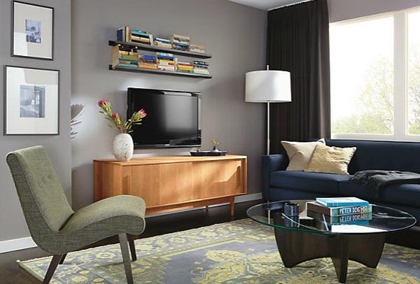 ausgefallenes Interior Design - Akzent stehlampe grau wand regale