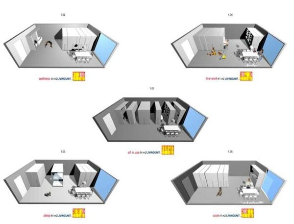 ausziehbare regale verstecken modulare zimmer konzept