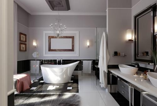 badewanne kronleuchter fliesen waschbecken spiegel wand