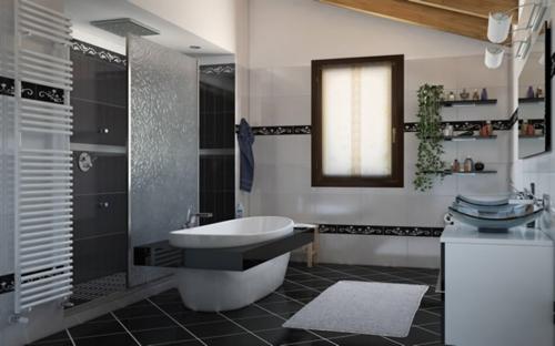 badewanne schwarz fliesen fußboden aufteiler fenster regale wand