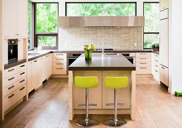 beige einrichtung küche lime neon barstühle