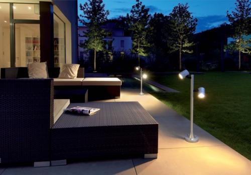 beleuchtung für garten veranda stehlampe modern rattan möbel