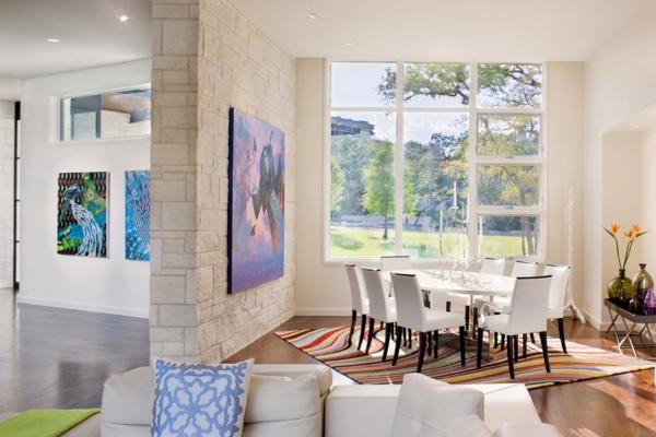 blanco haus in texas bunte wellenmuster teppich weiße stühle