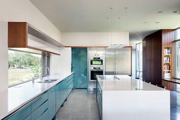 blau weiß glanz küchen design tür stil