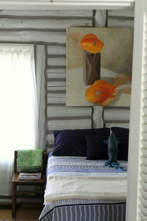 blockhaus am see gemälde mit fischen in orange