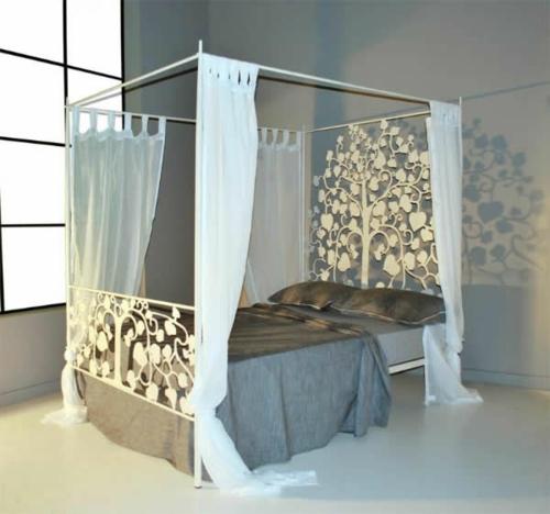blumenmuster floral kopfende bett gardinen weiß