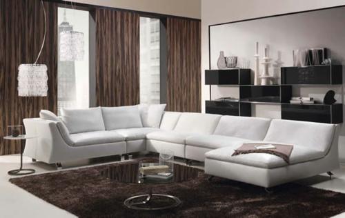 braun weiß wohnzimmer teppich rund couchtisch regale