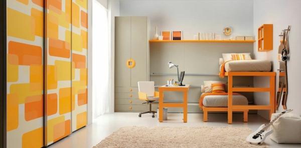 bunte tolle hochbetten gelbe und orange quadratische ornamente