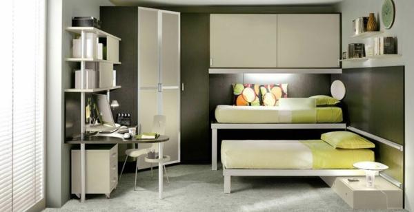 bunte tolle hochbetten hell grüne nuancen dezente möbel