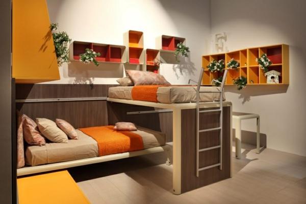 bunte tolle hochbetten in orange und gelb warm und gemütlich