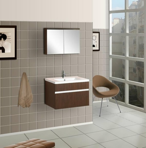 coole Bilder von Badezimmern holz waschbecken spiegelschrank fliesen wand