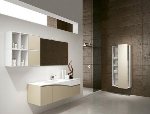 coole Bilder von Badezimmern kommode regale beige weiß fliesen