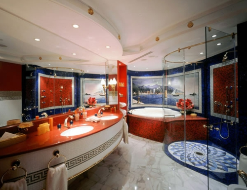 coole Bilder von Badezimmern rot weiß blau spiegel