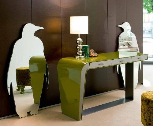 coole  wandspiegel rund sonne pinguin form