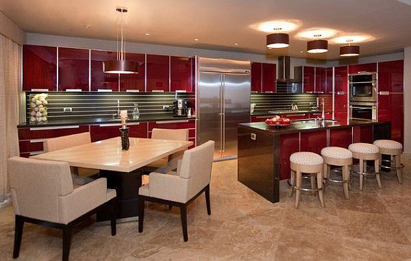 coole rote farbe für die küche cremefarbige sitzecke marmor boden fliesen
