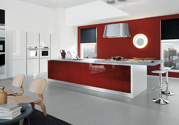coole rote farbe f r die k che mit schwung frech und stylisch. Black Bedroom Furniture Sets. Home Design Ideas