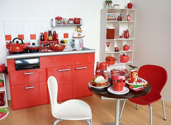 coole rote farbe für die küche niedliche einrichtung kleine wohnung