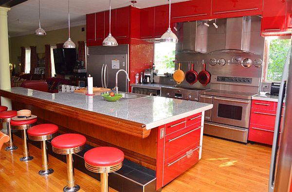 coole rote farbe für die küche leder barstühle graue marmor theke