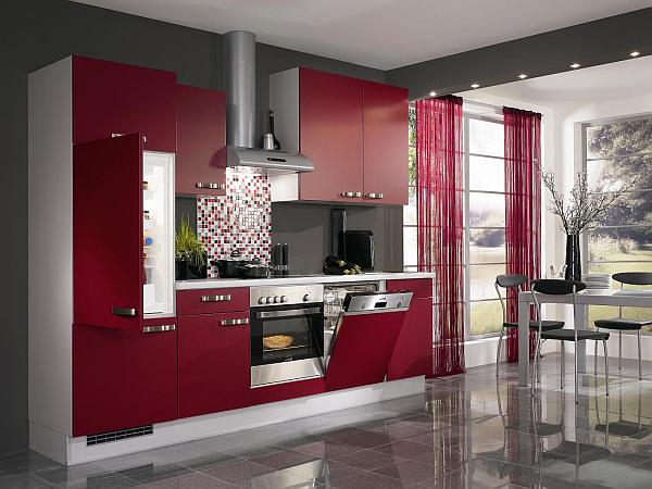 coole rote farbe f r die k che mit schwung frech und stylisch. Black Bedroom Furniture Sets. Home Design Ideas