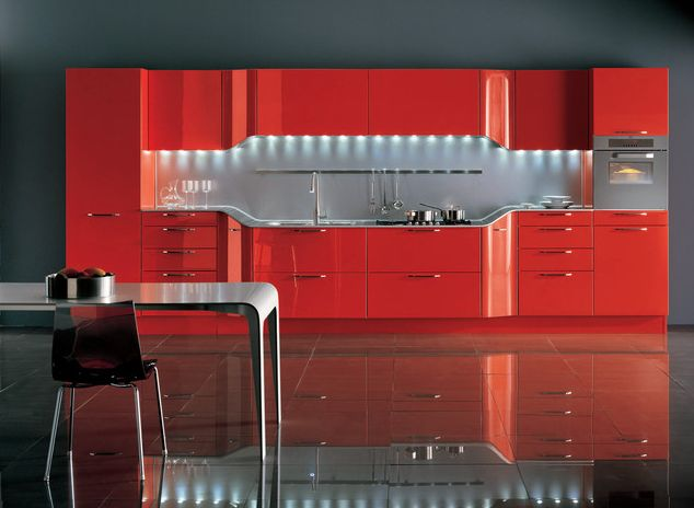 Coole Rote Farbe Für Die Küche Ultra Modern In Orangerot