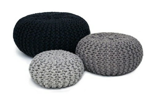coole runde sitzkissen designs gestrickt grau schwarz flocks