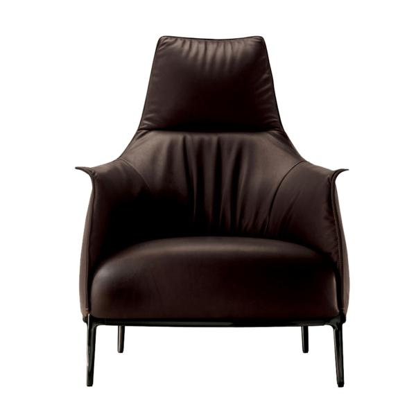 cooler luxus sessel elegant in dunkel braun leder