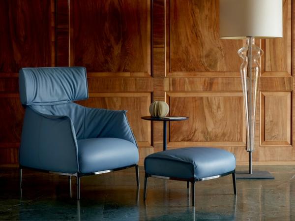 cooler luxus sessel elegante form in grau massive holz täfelung