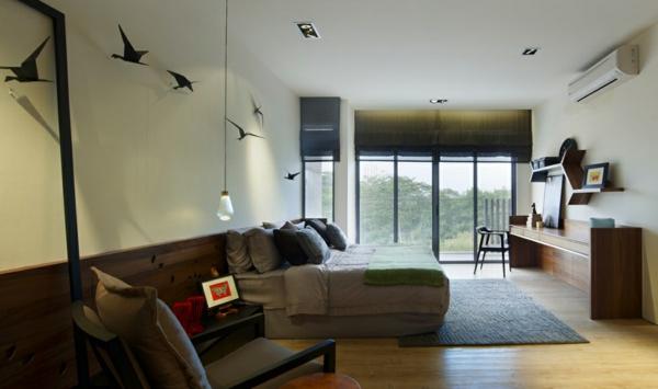 cooles stadthaus design idee doppelbett schlafzimmer wanddekoration
