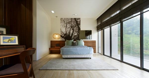 cooles stadthaus design schlafzimmer bequemes bett