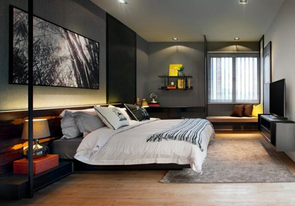 cooles stadthaus design schlafzimmer schwarzes ambiente regale