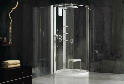 dampfdusche badezimmer dunkel extravagant duschkabine
