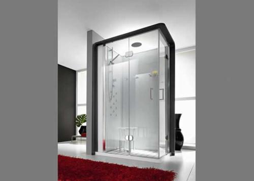 dampfdusche badezimmer glaswände rot weich teppich