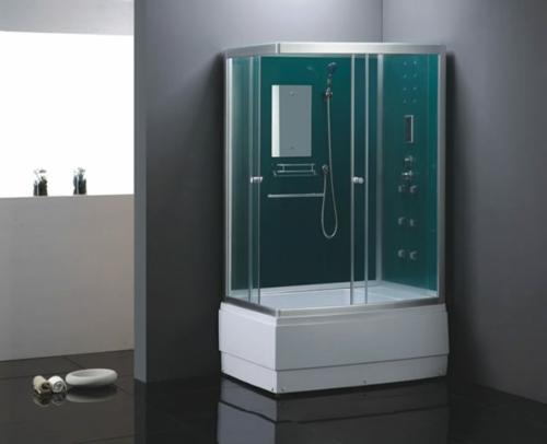 dampfdusche badezimmer holz regale grün glas