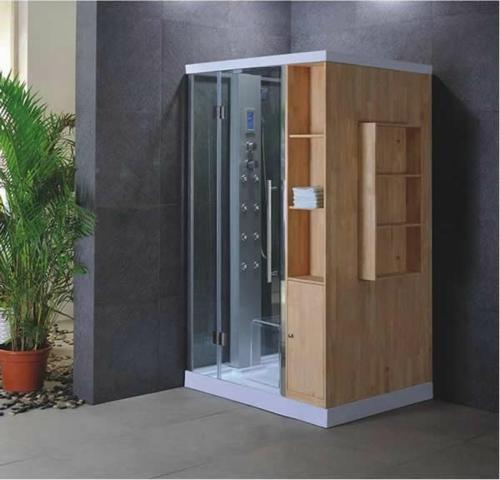 dampfdusche badezimmer holz regale nützlich ausstattung