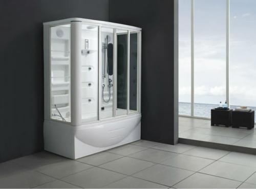 dampfdusche-badezimmer in der ecke bodenfliesen