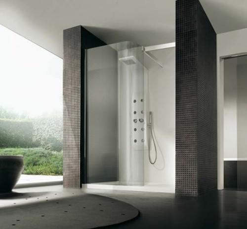dampfdusche badezimmer minimalistsisch dunkle oberflächen