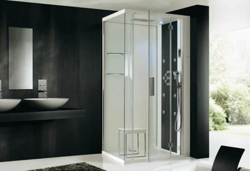 dampfdusche badezimmer minimalistsisch dunkle wände waschbecken