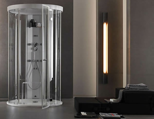 dampfdusche badezimmer minimalistsisch sitzecke