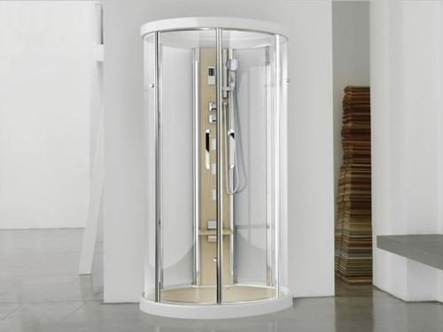 dampfdusche badezimmer minimalistsisch weiße einrichtung