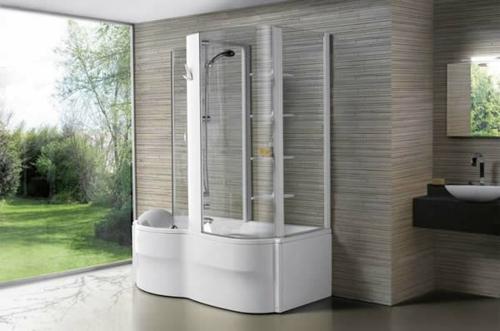 dampfdusche badezimmer modern regale wandbelag