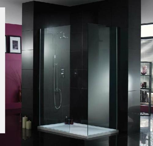 dampfdusche badezimmer trendy elegant schwarz wandfliesen