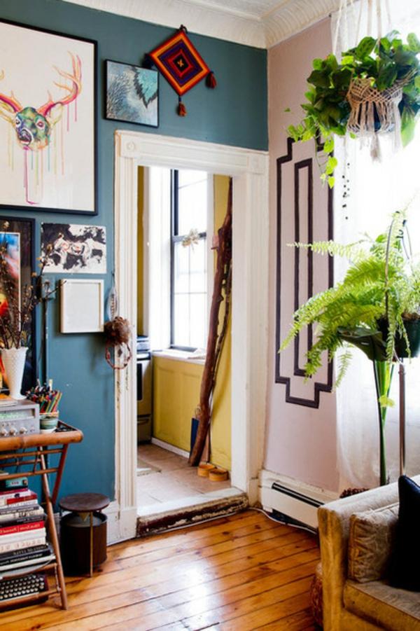 das kleine studio apartment wandkunst zitronengelb und pastellblau