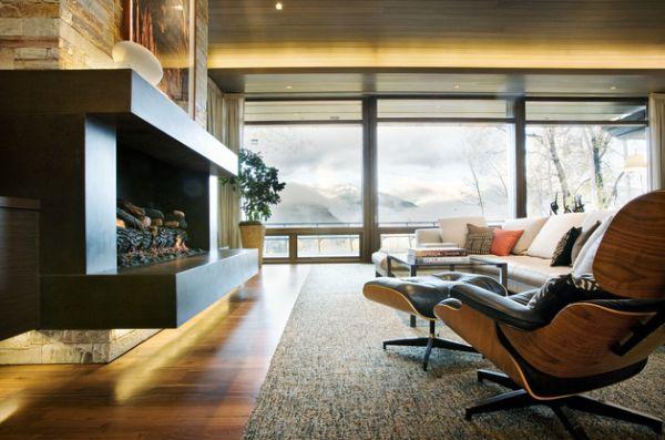 Das Zeitlose Eames Lounge Chair Bequem Indirekte Beleuchtung Einbaukamin