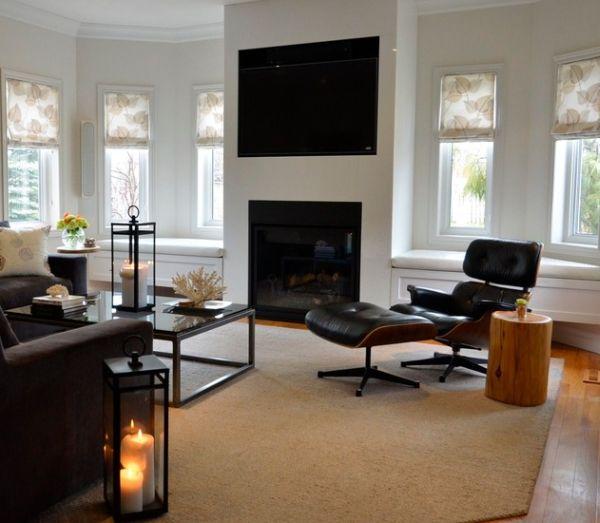 Das Zeitlose Eames Lounge Chair Bequem Kerzen Kamin Stumpf Tisch