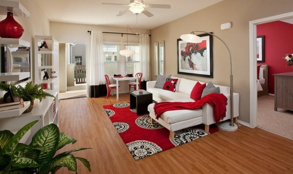 Das Zuhause Gemütlich Einrichten Modern Rot Akzente Teppich Sofa Decken