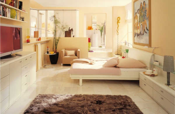 das zuhause gemütlich einrichten schlafzimmer fellteppich
